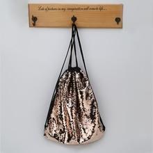 Women Sequin Drawstring Backpack Glitter Shoulder Bag Shopping Travel Bags