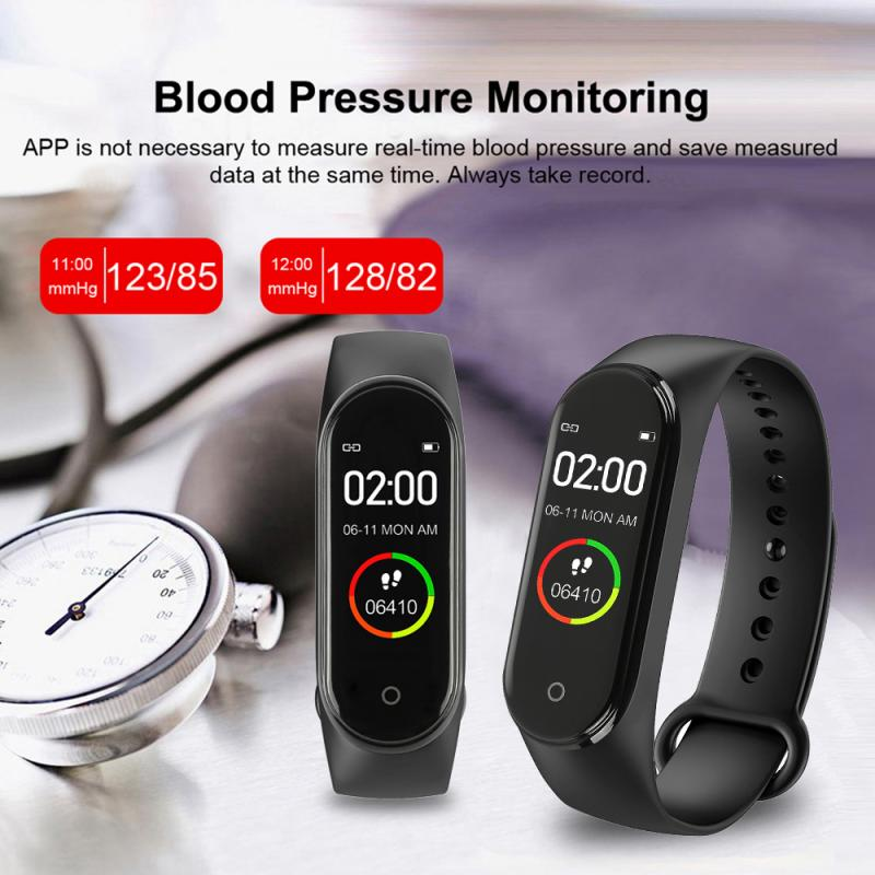 M4plus Smart Watch Bracelet Heart Rate Monitor Photo Upload Bluetooth Smart Band Watch Waterproof Pressure Exercise Bracelet