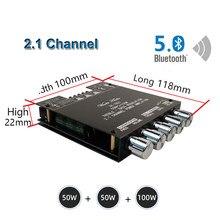 Placa de amplificador potencia Subwoofer TPA3116D2 con Bluetooth 100, 2x50W + 5,0 W, ecualizador de Audio estéreo, Clase D, 2,1 canales, TPA3116