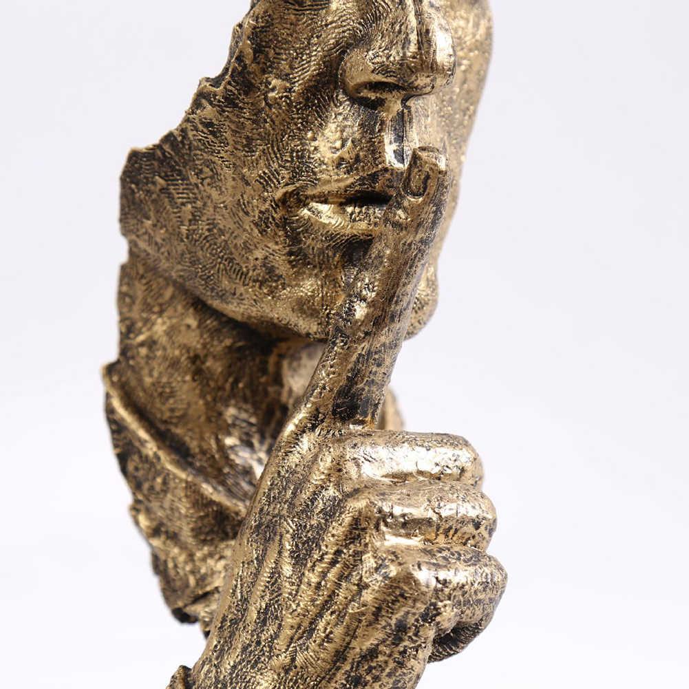 Sessiz, altın heykelcik reçine soyut, ev dekorasyonu, toksik olmayan heykel heykelcik heykelcik zanaat ofis ev dekorasyon