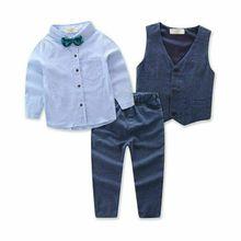 Toddler Baby Boy Gentleman 3PCS Outfit Clothes Set Suit Waistcoat Shirt Pants
