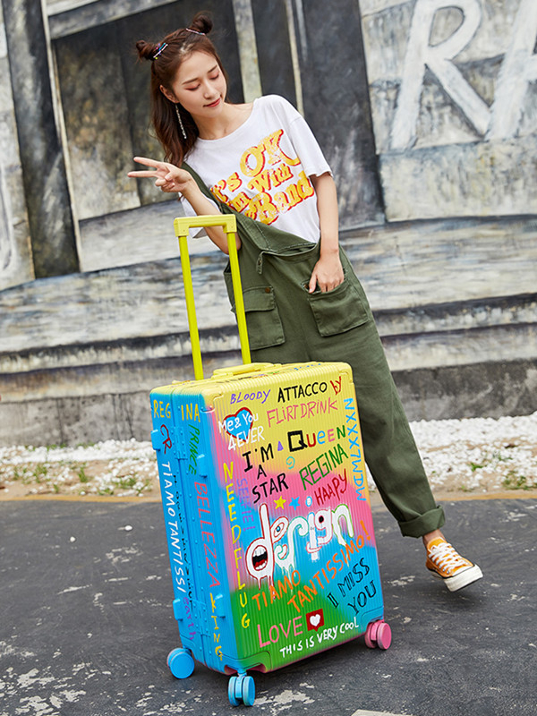 Super Fashion Doodle Suitcase Spinner Aluminum Frame Hardside Travel Suitcase On Wheel Travel Bags Trolley Luggage Bag 20