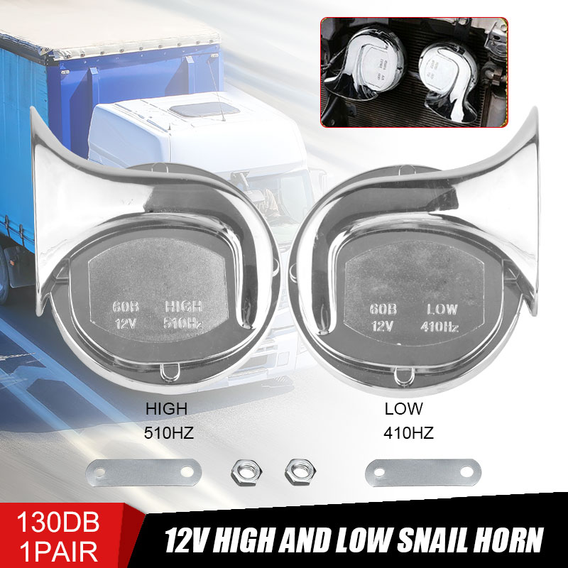 DERI 12V 130DB Universal Loud Dual-tone Electric Snail Air Horn Siren For Car Motorcycle Speaker Waterproof Electric Horn Moto