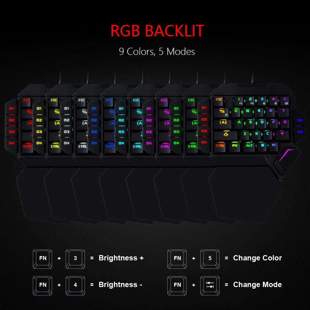 RedThunder One-Handed Mechanical Gaming Keyboard RGB Backlit Portable Mini Gaming Keypad Game Controller for PC PS4 Xbox Gamer 1