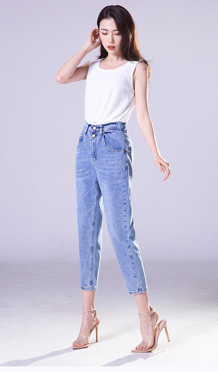 KSTUN FERZIGE high waist jeans women cotton mom jeans cropped Pants loose fit light blue double bottons boyfriend jeans for women 13