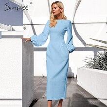 Simplee Lantaarn vrouwen plus size jurk Elegante o hals zakken kantoor jurk Dames winter warme lange oversize party herfst jurk