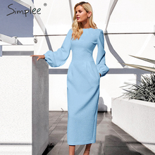 Simplee Lanterna delle donne più il vestito da formato Elegante o collo tasche del vestito ufficio Delle Signore di inverno caldo lungo oversize partito del vestito di autunno