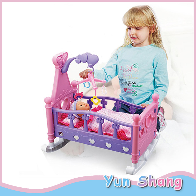 Baby Shaker Sets Toys Children's Play House Simulation Baby Shaker Doll Toy Rocking Cradle Crib Cot Bed Toy With Blanket Pillow