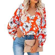 Cute Women Fashion Casual All-match Loose Puff Sleeves Female Flower Print V-neck Long-sleeved Shirt Blouse Top все цены
