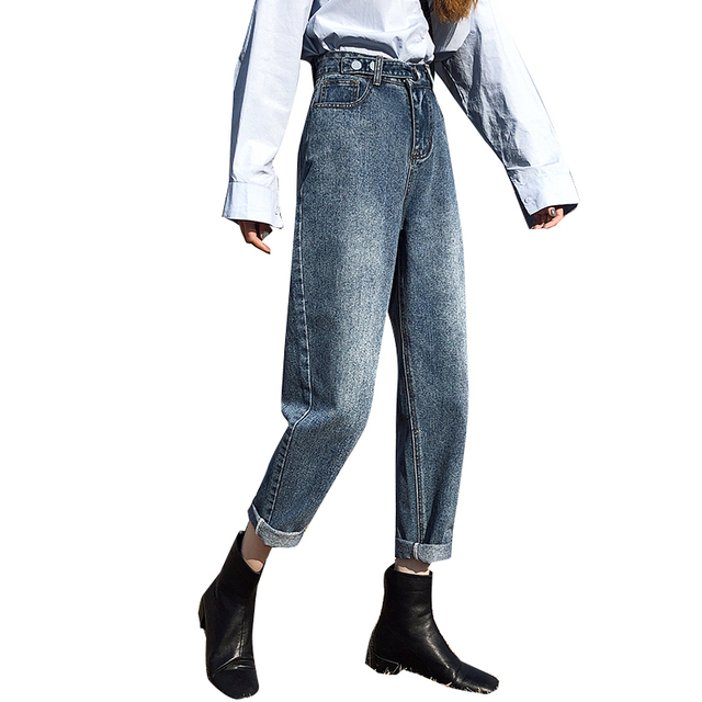 Azul Pantalones Vaqueros De Cintura Alta Mujer Casual Jeans Pantalones Harem Damas Negro Vintage Jean Femme Shaverandsons Se