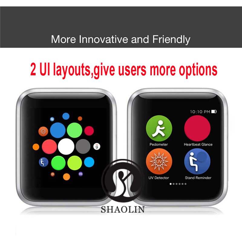 50% de réduction sur montre intelligente série 4 SmartWatch étui pour apple 5 6 7 iPhone Android téléphone intelligent moniteur de fréquence cardiaque pedometor (bouton rouge) - 2