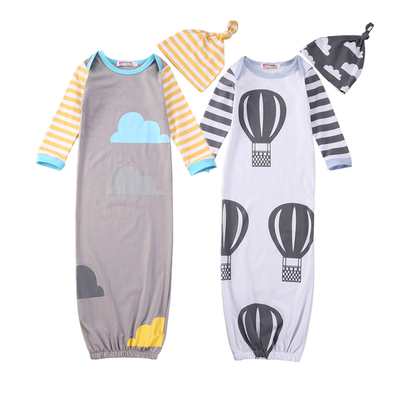 100% Cotton Newborn Baby Sleeping Bags Cute Cartoon Toddler Infant Swaddle Wrap Blanket Sleeping Bag+Hat 2Pcs Muslin Wrap Outfit