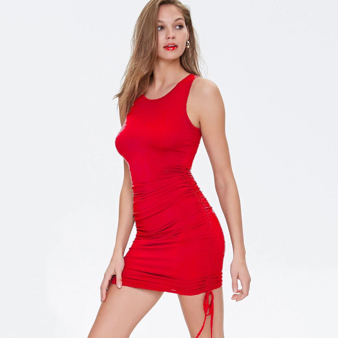 Cotton Ruched Drawstring Sexy Party Dress Women Sleeveless Elastic Mini Dress Vintage Summer Bodycon Club Wear Vestidos 29