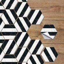 Modern Abstract Hexagon Floor Stickers Waterproof Tiles Bathroom Black And White Marble Line Decals