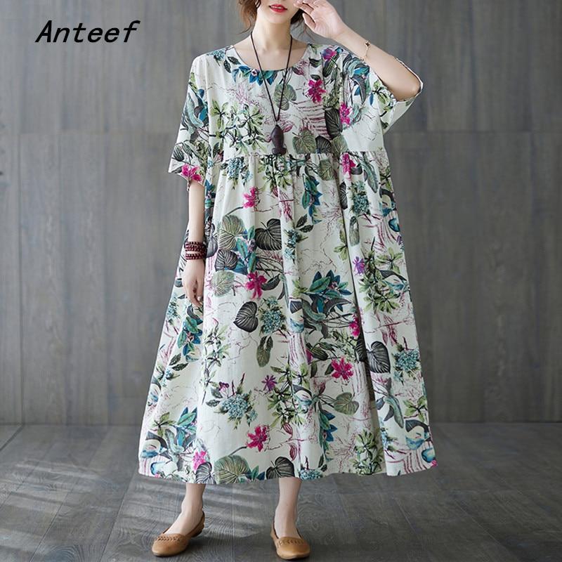 short sleeve plus size cotton vintage floral dresses for women casual loose long woman summer dress elegant clothes 2021