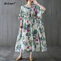 short sleeve plus size cotton vintage floral dresses for women casual loose long woman summer dress elegant clothes 2021