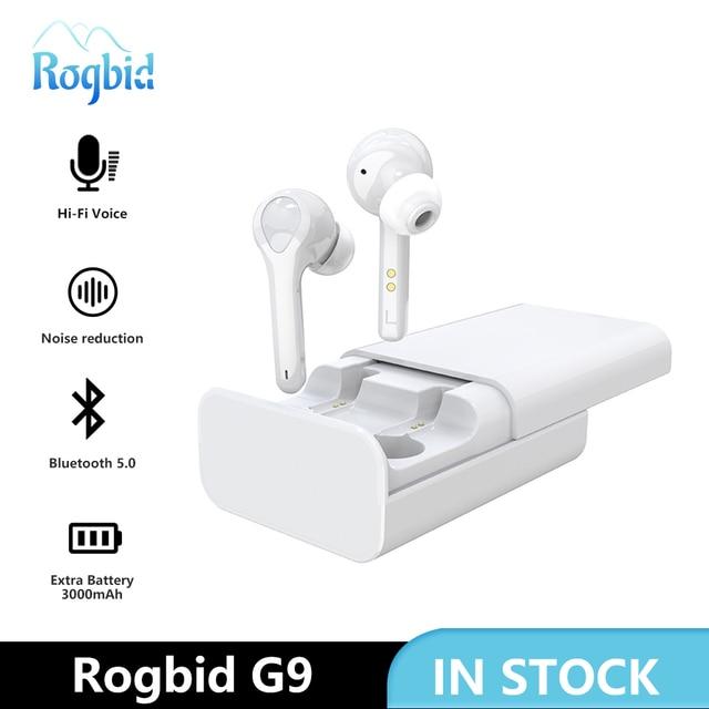 True Wireless Earbuds Bluetooth 5.0 Wireless Earphones Active Noise Canceling with 3000mAh Power Bank Touch Headphone Rogbid G9
