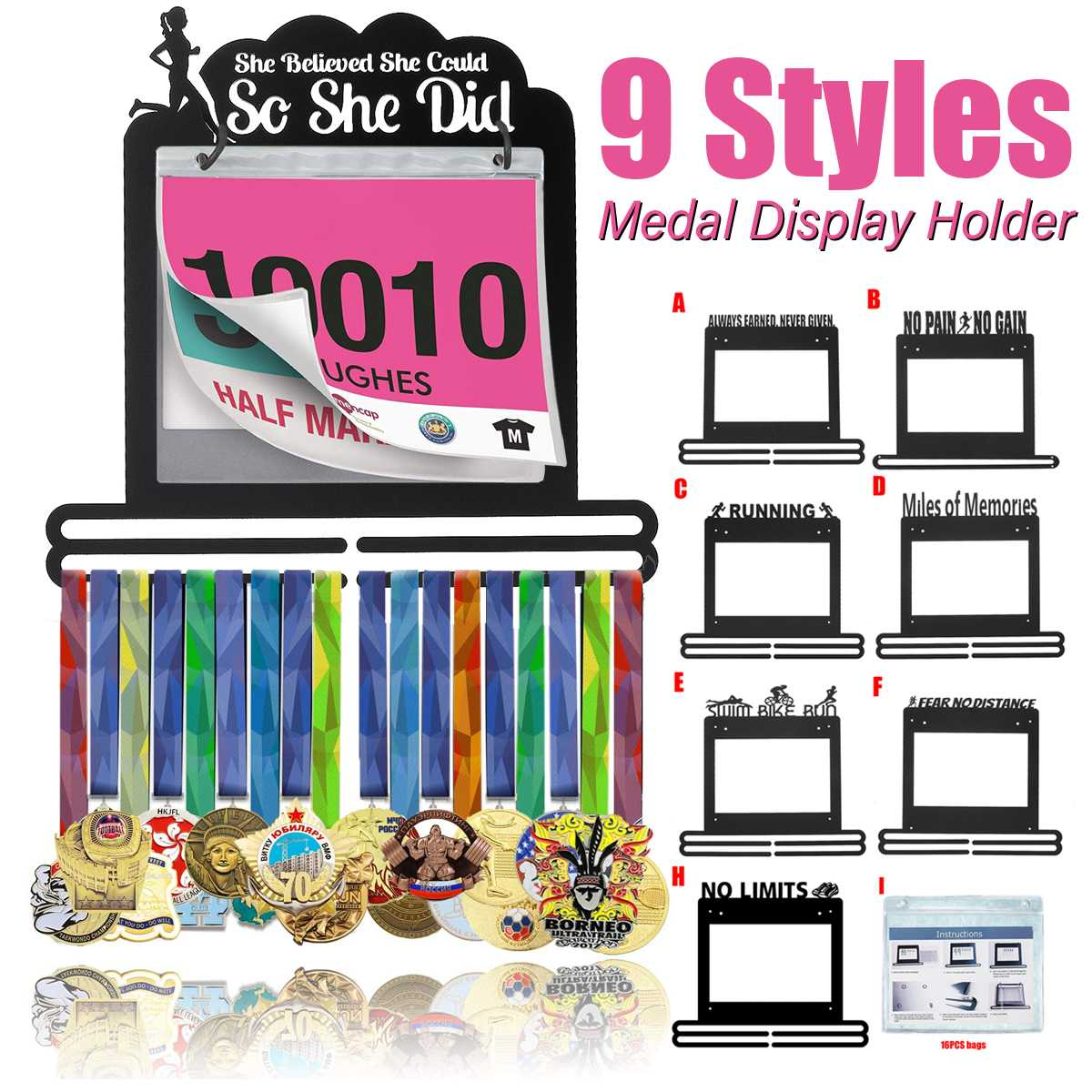 9 Styles Medal Hanger Metal Medals Holder With Race Bib Sport Medal Display Rack Wall Hang Decoration Marathon Run Swim Others