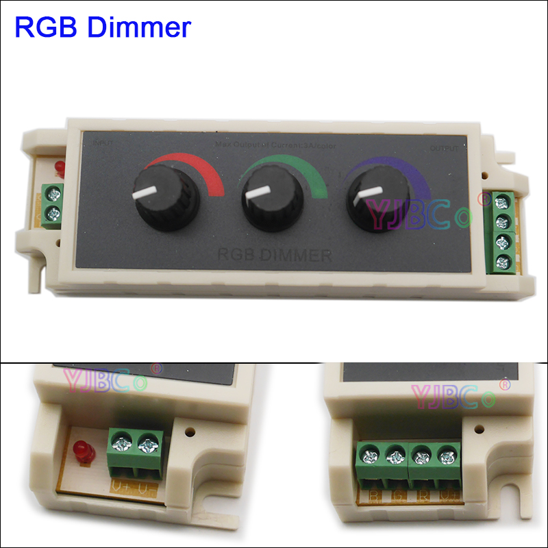 DC12V 24V RGB Switch Stepless Adjustable Dimmer LED Strip Tape Controller Three Way Switch For 2835 3528 5050 Led Strip Light