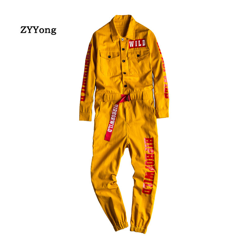 2021 Loose Overalls Men's Jumpsuit Cotton Letter Print Lapel Long Sleeve Tie Feet Casual Pants Hip Hop Workwear Yellow Trousers