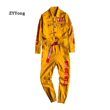 ZYYong Letter print long sleeve  jogging pants  Men's Jumpsuit  Multi Pocket  Hip Hop Workwear Men's Yellow Loose Overalls