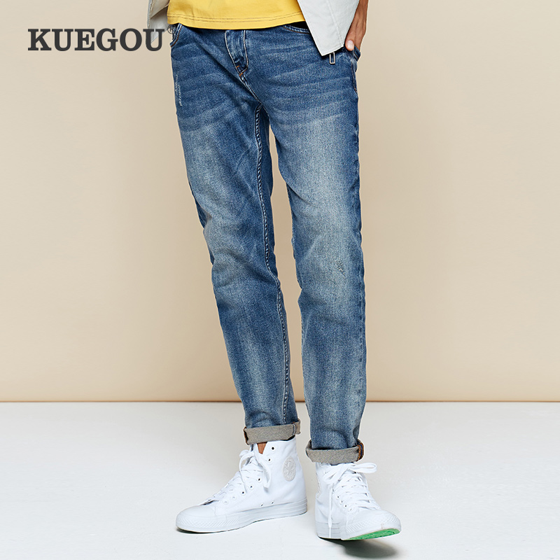 【Kuegou】Men's Jeans 2020 Winter Cultivate One's Morality Fashion Leisure Joker Pencil Pants Micro Elastic Jeans KK-2990
