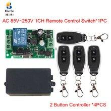 433MHzรีโมทคอนโทรลไร้สายAC 110V 220V 1CHรีเลย์ตัวรับสัญญาณรีเลย์รีโมทคอนโทรล 2 ปุ่มรีโมทคอนโทรลRF