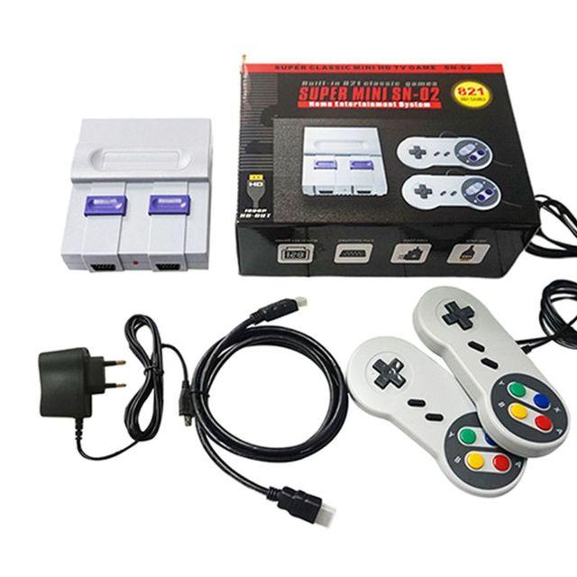 SUPER MINI NES consola de videojuegos Retro clásica, reproductor de juegos de TV con 821 juegos integrados con mandos duales X6HA
