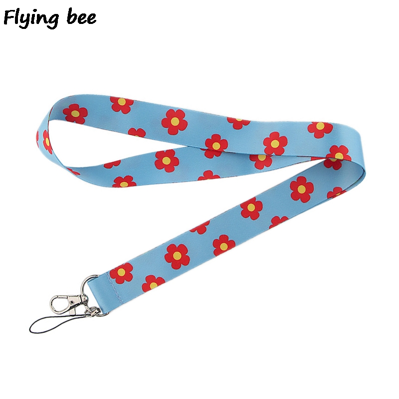 Flyingbee Red Flowers Keychain Cartoon Cute Phone Lanyard Women Fashion Strap Neck Lanyards For ID Card Phone Keys X0517