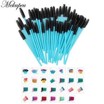 50 Pcs/lot Nylon Golden Blue Handle Mascara Wands Applicator Disposable Eyelash Brush For Eyelash Extension Makeup Brushes 1