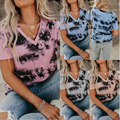 New Summer Women's Fashion Printed V-Neck Cotton T Shirt Plus Size Casual Loose Tops S-2XL