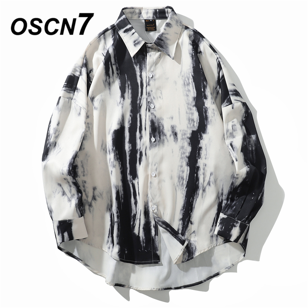 OSCN7 Casual Printed Long Sleeve Shirt Men High High Streetwear 2019 Fall Women Shirt Retro Shirts Harujuku Mens Shirt 3886