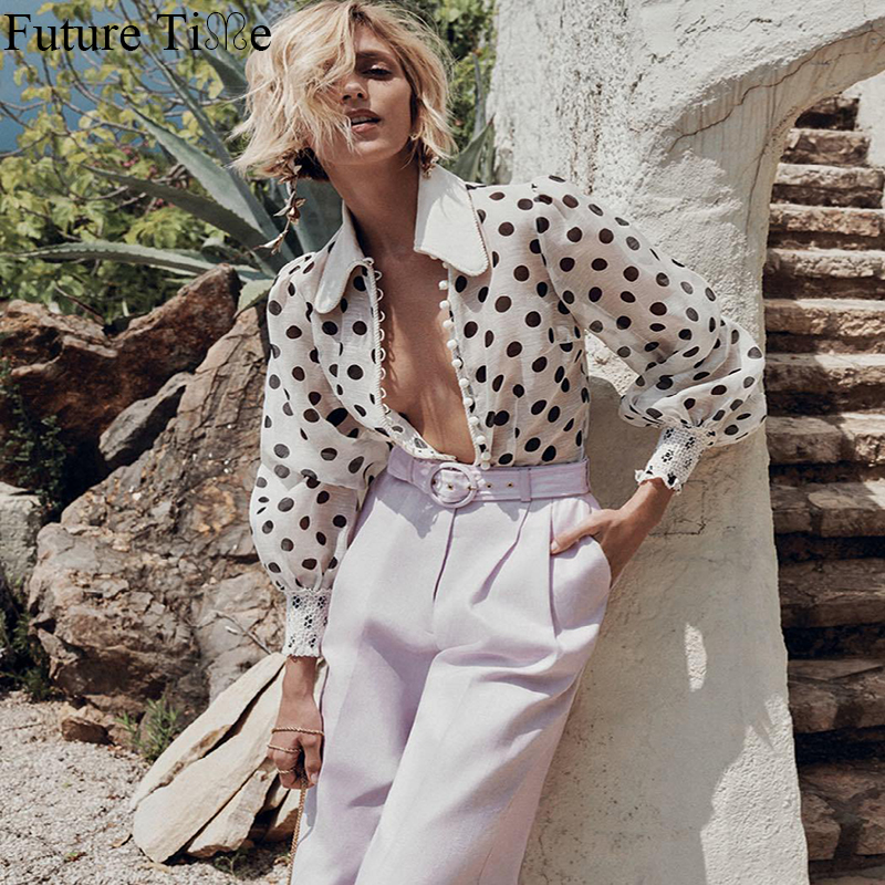 Future Time Polka Dot Lantern Long Sleeve Vintage Top Chiffon Casual Women Clothes Classic Look SP431