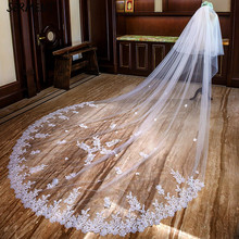 SERMENT Cathedral Wedding Veil Bead Edge Three-Layer Apliqued 400cm Lace Sequins Long Tailed Bride White Accessorie