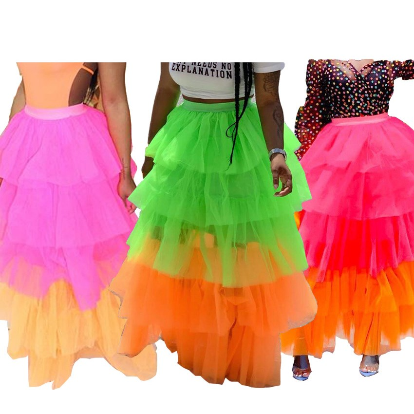 Nice Colorful Layers Tulle Summer Long Skirt Women Ruffle Ball Gown High Waist Pleated Skirt Streetwear Casual Tutu Skirts