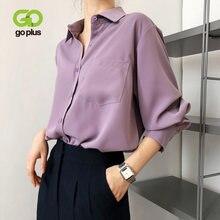 Блузка goplus женская шифоновая в винтажном стиле белый топ