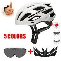 Cascos ultraligeros con visera extraíble, gafas para bicicleta, luz trasera, casco para hombre, Mtb, ciclismo de carretera