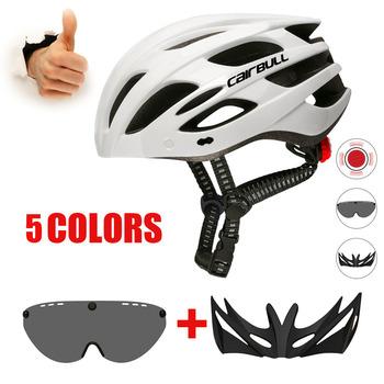 Ultralight kaski rowerowe ze zdejmowanym daszkiem okulary motocyklowe światło tylne kask Mtb Man MTB szosowe kaski rowerowe tanie i dobre opinie CAIRBULL (Dorośli) mężczyzn CN (pochodzenie) 226G 20 Formowane integralnie kask Cairbull SPARK Helmet with Removable Visor