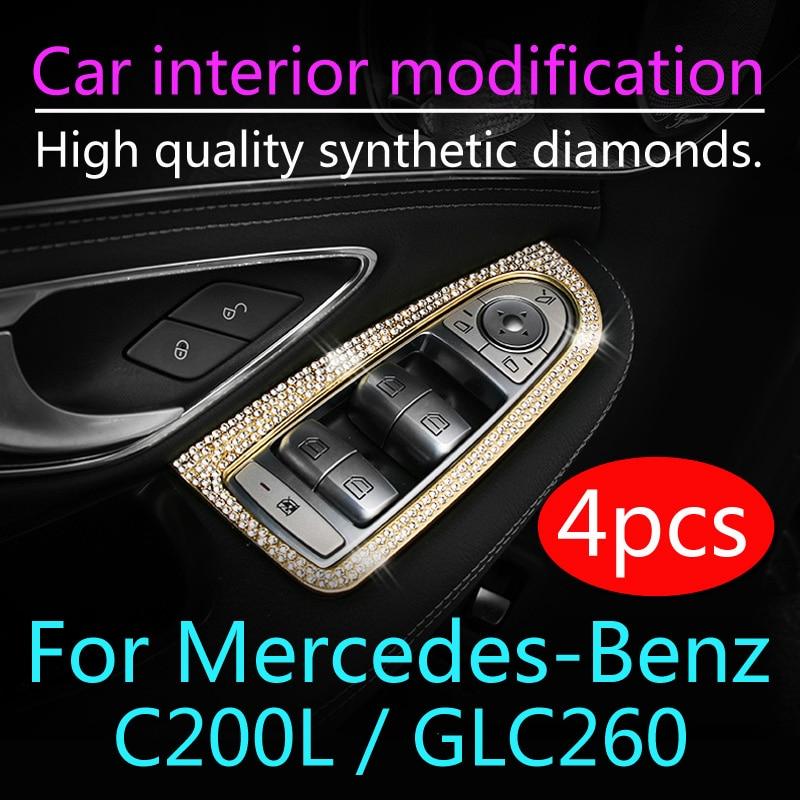 4 шт. для Mercedes-Benz C200L GLC260, модификация салона автомобиля, ключ для модификации, Алмазное украшение, украшение для окна
