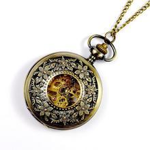 Модные Классические Цветочные полые ретро механические карманные наручные часы, горячая Распродажа подарок в античном стиле часы два дополнительных
