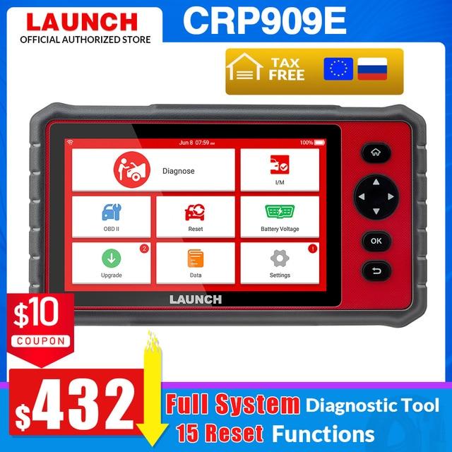 LAUNCH X431 CRP909E obd2 스캐너 전체 시스템 진단 도구 + 에어백 SAS TPMS EPB IMMO 15 리셋 기능 CRP909X 코드 리더