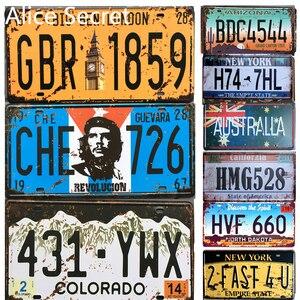 Usa Auto Licentie Metalen Platen Amerikaanse Auto Nummer Metalen Tin Borden Thuis Pub Cafe Decor Metalen Teken Garage Metal Art plaque Poster