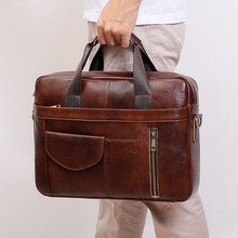 JOYIR Genuine Leather Men's Briefcase Fashion Business Shoulder Messenger Bags 15.6