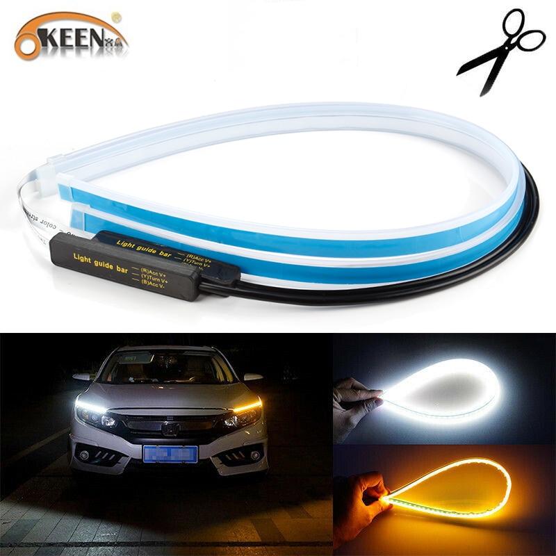 OKEEN 2 stücke Wasserdichte Flexible Universal Auto LED DRL Tagfahrlicht Fluss Läuft Scheinwerfer LED Streifen Bremse Blinker licht