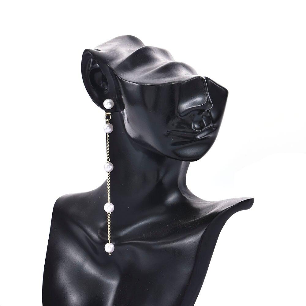 New Fashion Style Simple Long Pearl Tassel Chain Female Water Drop Dangling Earrings Jewelry Gift Stud Earrings for Women