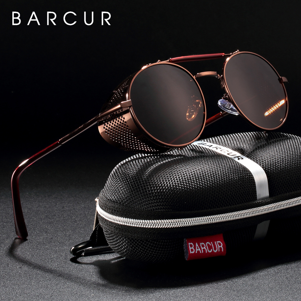 BARCUR Round Polarized Sunglasses Gothic Steampunk Sunglasses Men Women Vintage Shades UV400|Women's Sunglasses| - AliExpress