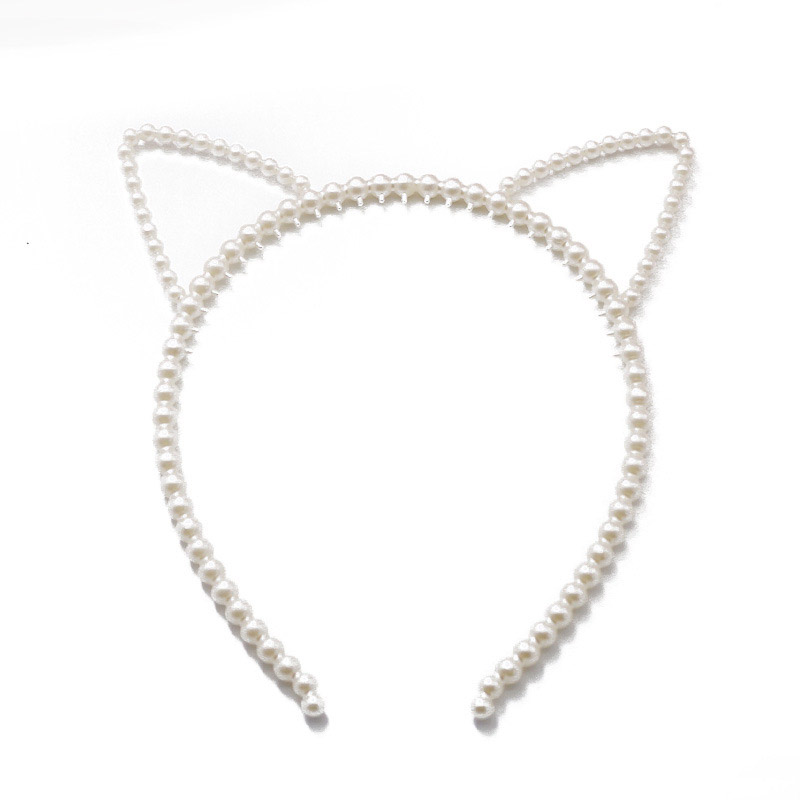 1PC Faux Pearl Cat Ear Headband Rabbit Cat Ear Hair Hoop Lovely Turban Women Girls Hair Bands Hair Accessories Korean Headwear