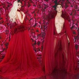 Klub nocny piosenkarka/tancerz Sexy perspektywa kostium mężczyźni/kobiety czerwony kwiat koronki wydajność etap sukienka Featival Rave strój DT1351