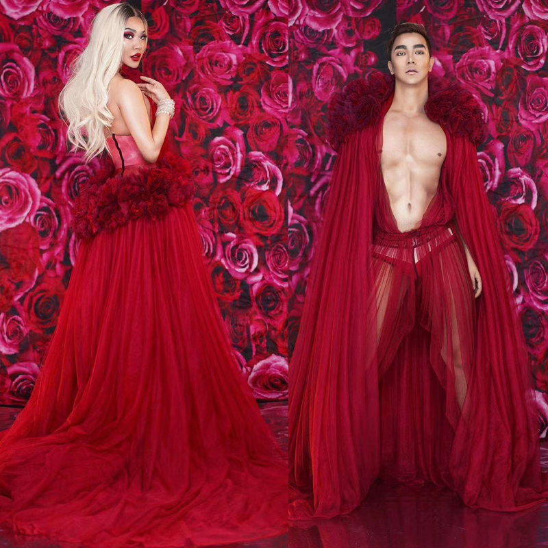 Nightclub Singer/Dancer Sexy Perspective Costume For Men/Women Red Flower Lace Performance Stage Dress Rave Party Outfit DT1351