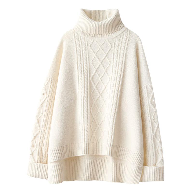 turtleneck women sweater thicken warm solid loose lady elegant outwear coat pulls fashion tops